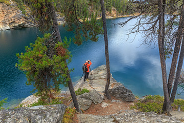 Photographer at Horseshoe Lake in Jasper National Park