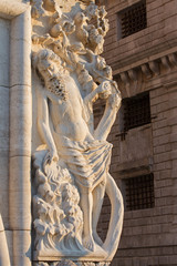 Venice - sculpture from facade of Doge palace in morning light