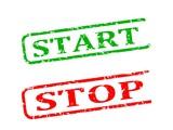 Start, stop, red and green stamp damaged - illustration poster