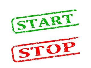 Start, stop, red and green stamp damaged - illustration