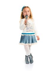 Little blonde girl singing