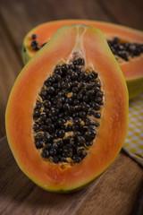 Papaya fruit cut in half