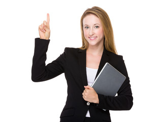 Businesswoman hold with laptop and thumb up