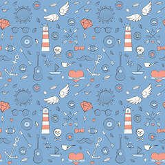 Sea doodle seamless hipster pattern over blue