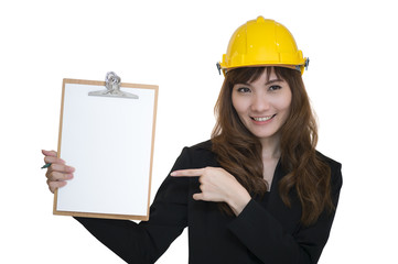 Female engineering with hold clipboard paper report document