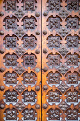 Background of an ornamented old wooden door