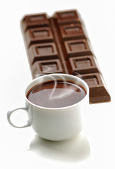 Hot chocolate cup on white background