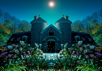 house and fireflies