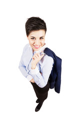 Young business woman smile at camera