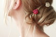 blond woman with hair pin - 76498793