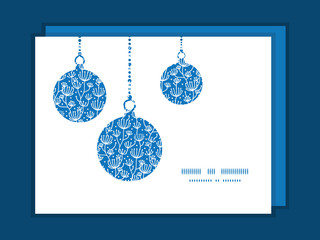Vector blue white lineart plants Christmas ornaments silhouettes