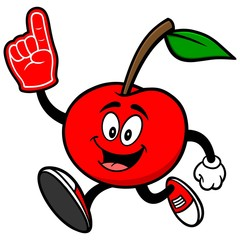 Cherry Running with Foam Finger
