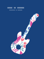 Vector pink flowers guitar music silhouette pattern frame