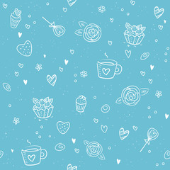 Valentine's Day seamless pattern - blue