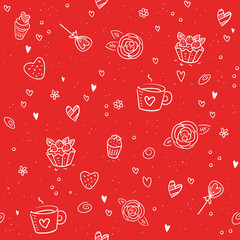 Valentine's Day seamless pattern - red