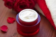 canvas print picture - Face cream with rose oil