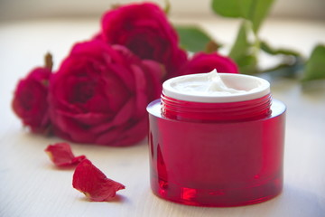 Face cream with rose oil