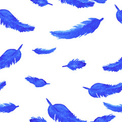 Blue feathers on white background seamless pattern