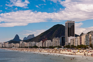 Copacabana Beach View with Mountains and Luxury Buildings