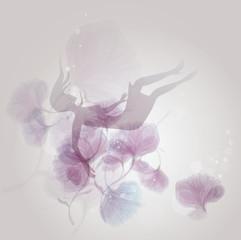 Allegory of FALL IN LOVE / Woman Silhouette falls in flowers