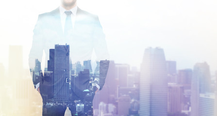 close up of businessman over city background