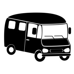 Black silhouette of minibus