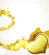 Valentine hearts and  yellow petals