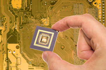 Microprocessor in hand over printed circuit board