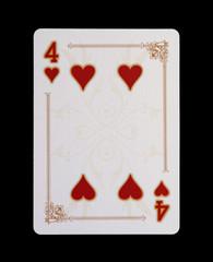 Spielkarten - Poker - Herz Vier im Spiel