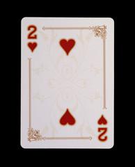 Spielkarten - Poker - Herz Zwei im Spiel
