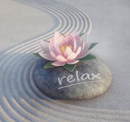 Relax - Lotusblüte auf Stein