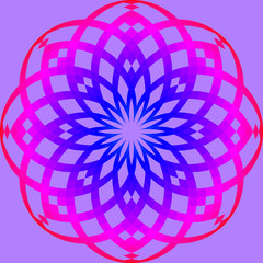 round ornament with blend from blue to pink