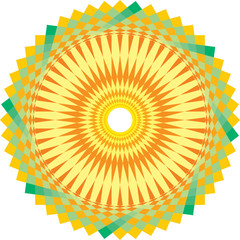 round sun ornament wih yellow and green elements
