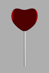 Red candy on stick on gray background