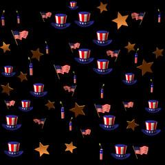 USA Birthday on black background.