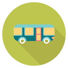 Round travel flat color bus Icon with shadow