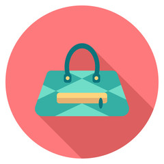Round travel flat color bag Icon with shadow