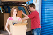 Storage: Couple Taking THings to Storage Unit - 76505512