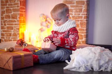 boy opens a gift