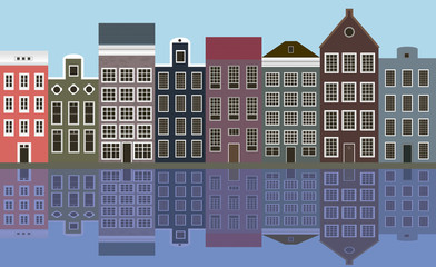 Illustration, houses of the old European city.