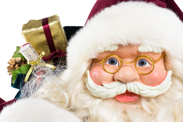 Portrait of Santa Claus face gifts and presents