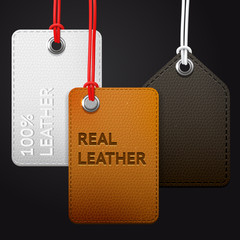 Hanging leather texture vector tags
