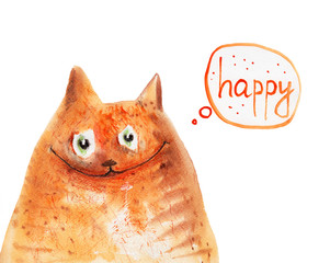 Happy cat. Watercolor. Hand drawing