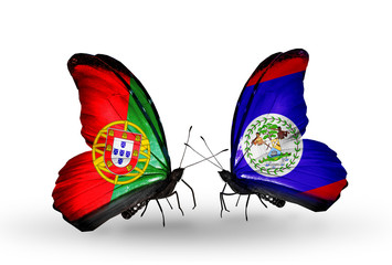 Two butterflies with flags Portugal and Belize