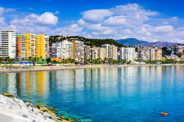 Malaga, Spain Beachfront Skyline