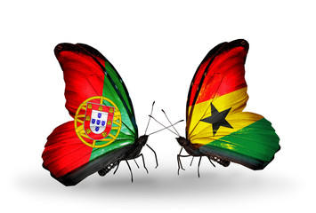 Two butterflies with flags Portugal and Ghana