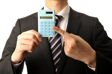 計算機を持ってお金のことを考えているサラリーマン