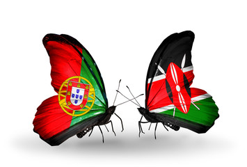 Two butterflies with flags Portugal and Kenya