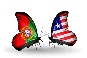 Two butterflies with flags Portugal and Liberia