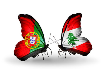 Two butterflies with flags Portugal and Lebanon